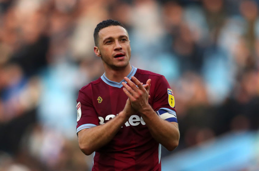 BIRMINGHAM, ENGLAND - NOVEMBER 25: James Chester of Aston Villa during the Sky Bet Championship match between Aston Villa and Birmingham City at Villa Park on November 25, 2018 in Birmingham, England. (Photo by Catherine Ivill/Getty Images)