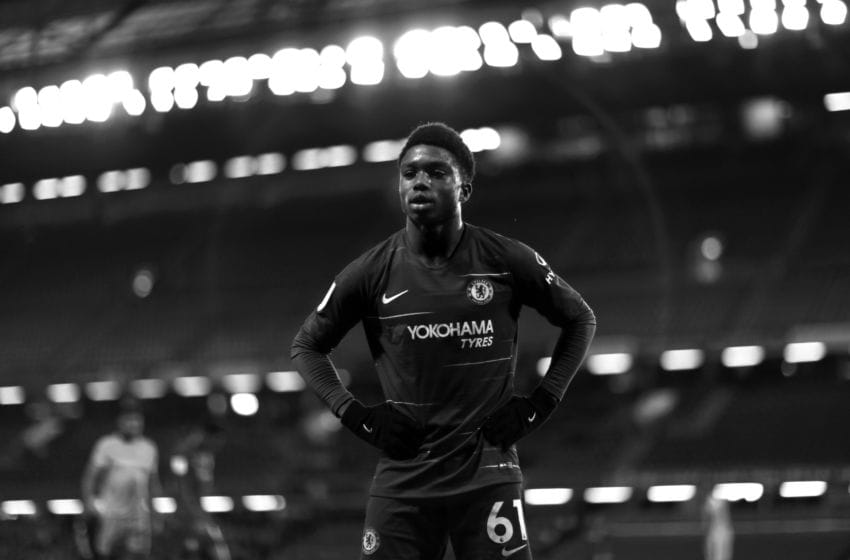 LONDON, ENGLAND - DECEMBER 04: (EDITORS NOTE - This image has been converted to black and white) Tariq Lamptey of Chelsea looks on during the Checkatrade Trophy second round match between Chelsea U21 and AFC Wimbledon at Stamford Bridge on December 4, 2018 in London, England. (Photo by Naomi Baker/Getty Images)