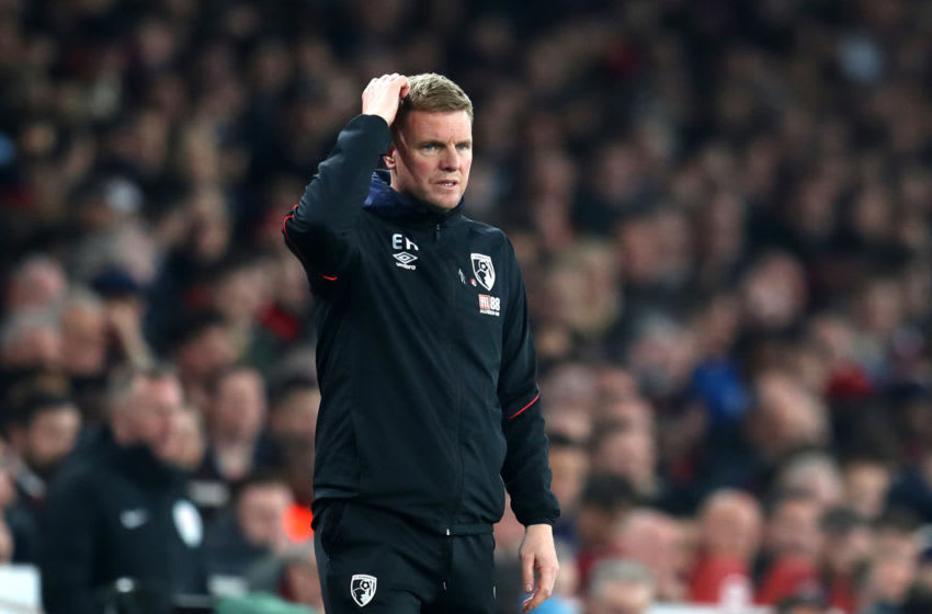 LONDON, ENGLAND - FEBRUARY 27: Eddie Howe, Manager of AFC Bournemouth reacts during the Premier League match between Arsenal FC and AFC Bournemouth at Emirates Stadium on February 27, 2019 in London, United Kingdom. (Photo by Catherine Ivill/Getty Images)