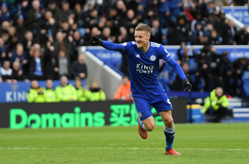 LEICESTER, ENGLAND - MARCH 09: Jamie Vardy of Leicester City celebrates after scoring his team's second goal during the Premier League match between Leicester City and Fulham FC at The King Power Stadium on March 09, 2019 in Leicester, United Kingdom. (Photo by Ross Kinnaird/Getty Images)