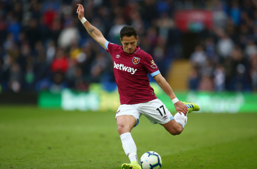 CARDIFF, WALES - MARCH 09: Javier Hernandez of West Ham United in action during the Premier League match between Cardiff City and West Ham United at Cardiff City Stadium on March 09, 2019 in Cardiff, United Kingdom. (Photo by Charlie Crowhurst/Getty Images)