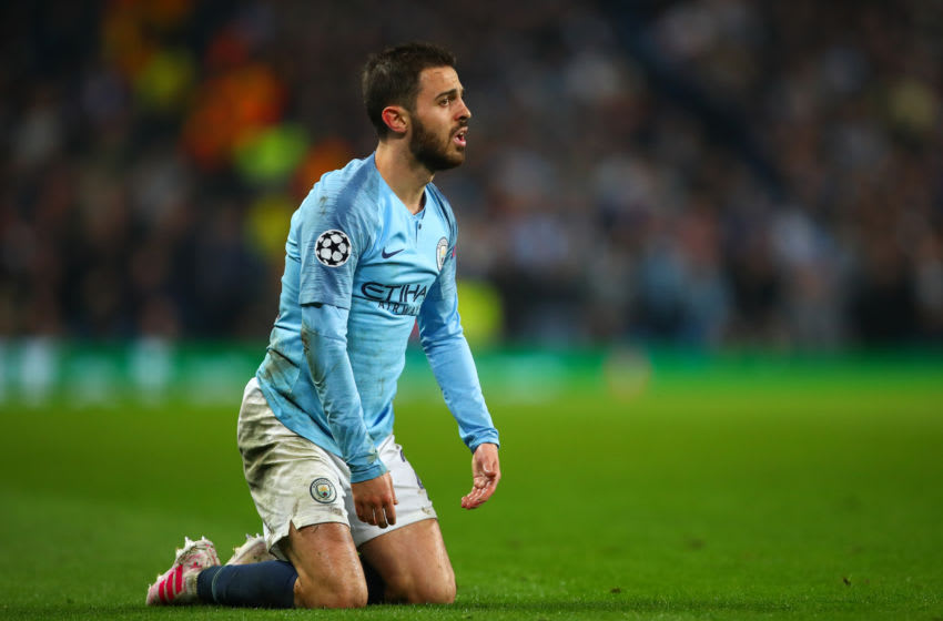 Bernardo Silva of Manchester City during the UEFA Champions League Quarter Final (Photo by Robbie Jay Barratt - AMA/Getty Images)