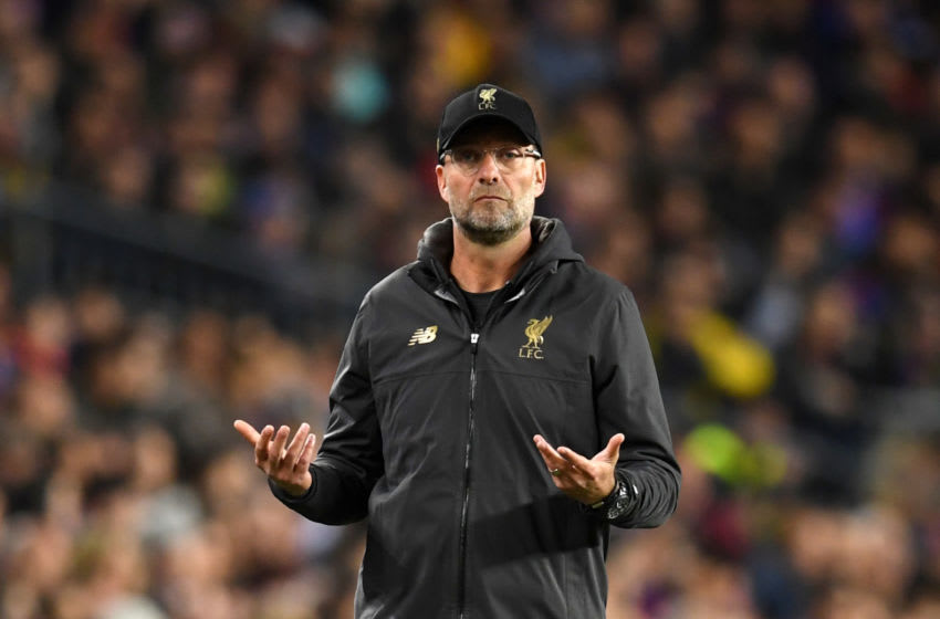 BARCELONA, SPAIN - MAY 01: Jurgen Klopp, Manager of Liverpool reacts during the UEFA Champions League Semi Final first leg match between Barcelona and Liverpool at the Nou Camp on May 01, 2019 in Barcelona, Spain. (Photo by Matthias Hangst/Getty Images)