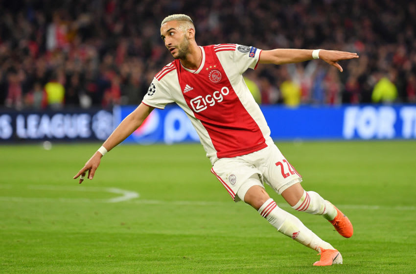 AMSTERDAM, NETHERLANDS - MAY 08: Hakim Ziyech of Ajax celebrates after scoring his team's second goal during the UEFA Champions League Semi Final second leg match between Ajax and Tottenham Hotspur at the Johan Cruyff Arena on May 08, 2019 in Amsterdam, Netherlands. (Photo by Dan Mullan/Getty Images )