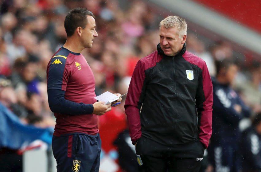 Assistant Head Coach, John Terry, Manager of Aston Villa Dean Smith (Photo by Naomi Baker/Getty Images)