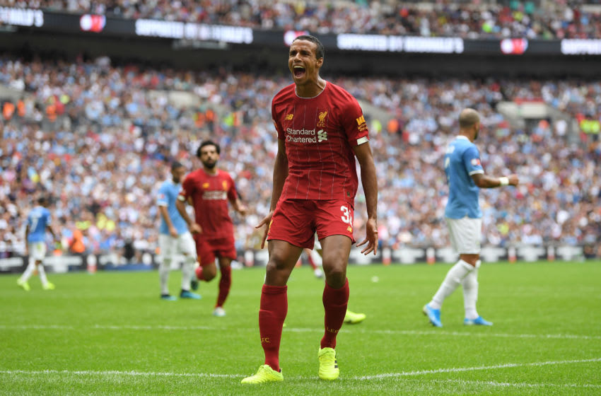LONDON, ENGLAND - AUGUST 04: Joel Matip of Liverpool celebrates after scoring his team's first goal during the FA Community Shield match between Liverpool and Manchester City at Wembley Stadium on August 04, 2019 in London, England. (Photo by Michael Regan/Getty Images)
