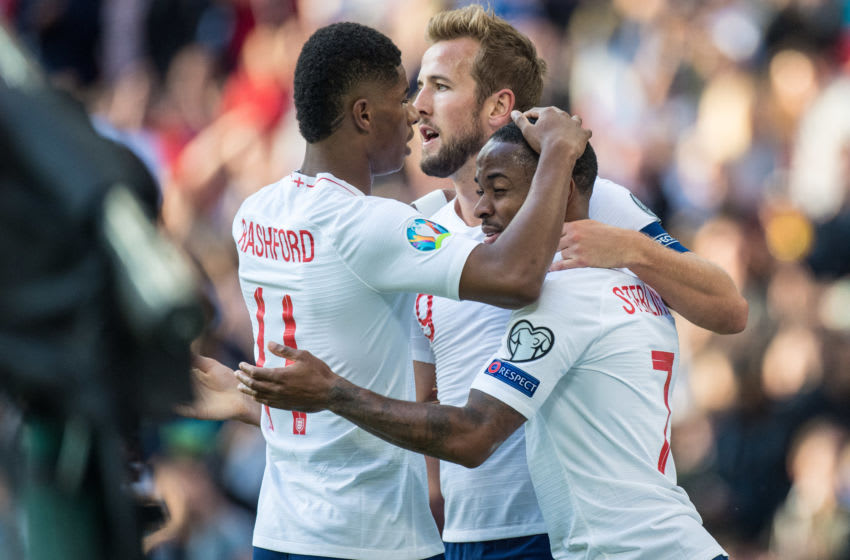 LONDON, ENGLAND - SEPTEMBER 07: Harry Kane of England celebrates with his teammates Raheem Sterling and Marcus Rashford after scoring his 2nd goal during the UEFA Euro 2020 qualifier match between England and Bulgaria at Wembley Stadium on September 7, 2019 in London, England. (Photo by Sebastian Frej/MB Media/Getty Images)