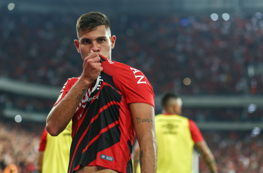 CURITIBA, BRAZIL - SEPTEMBER 11: Bruno Guimarães of Athletico PR celebrates after scoring the first goal of his team during the match Athletico PR v Internacional as part of Copa do Brasil Final, at Arena da Baixada Stadium on September 11, 2019 in Curitiba, Brazil. (Photo by Lucas Uebel/Getty Images)