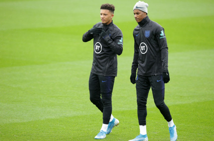 SOUTHAMPTON, ENGLAND - SEPTEMBER 09: Jadon Sancho and Marcus Rashford of England during a training session at Staplewood on September 09, 2019 in Southampton, England. (Photo by Robin Jones/Getty Images)