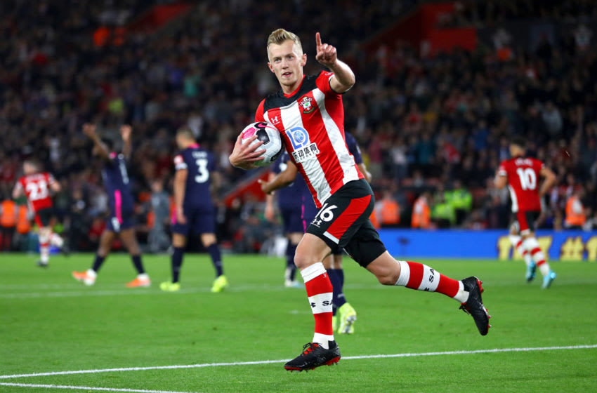 SOUTHAMPTON, ENGLAND - SEPTEMBER 20: James Ward-Prowse of Southampton celebrates after scoring his team's first goal from the penalty spot during the Premier League match between Southampton FC and AFC Bournemouth at St Mary's Stadium on September 20, 2019 in Southampton, United Kingdom. (Photo by Michael Steele/Getty Images)