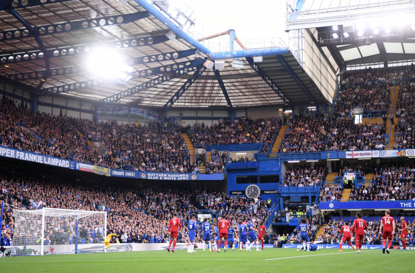 LONDON, ENGLAND - SEPTEMBER 22: General view inside the stadium as Trent Alexander-Arnold of Liverpool scores his team's first goal during the Premier League match between Chelsea FC and Liverpool FC at Stamford Bridge on September 22, 2019 in London, United Kingdom. (Photo by Laurence Griffiths/Getty Images)