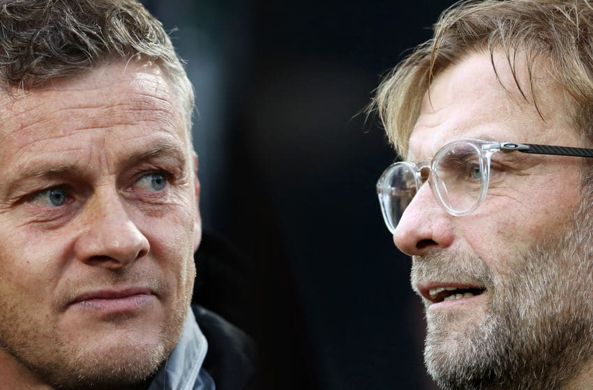 FILE PHOTO (EDITORS NOTE: COMPOSITE OF IMAGES - Image numbers 1178800802,856402376 - GRADIENT ADDED) In this composite image a comparison has been made between Ole Gunnar Solskjaer, Manager of Manchester United (L) and Liverpool manager Jurgen Klopp. Manchester United and Liverpool FC meet in the Premier League fixture on October 18, 2019 at Old Trafford in Manchester. ***LEFT IMAGE*** THE HAGUE, NETHERLANDS - OCTOBER 03: Ole Gunnar Solskjaer, Manager of Manchester United looks on prior to the UEFA Europa League group L match between AZ Alkmaar and Manchester United at ADO Den Haag on October 03, 2019 in The Hague, Netherlands. (Photo by Bryn Lennon/Getty Images) ***RIGHT IMAGE*** NEWCASTLE UPON TYNE, ENGLAND - OCTOBER 01: Liverpool manager Jurgen Klopp looks on during the Premier League match between Newcastle United and Liverpool at St. James Park on October 1, 2017 in Newcastle upon Tyne, England. (Photo by Ian MacNicol/Getty Images)