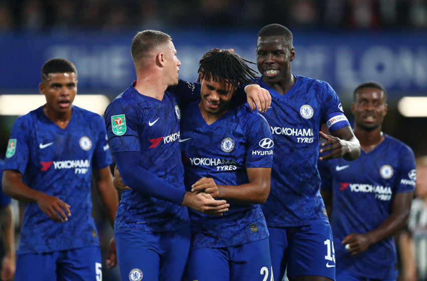 LONDON, ENGLAND - SEPTEMBER 25: Reece James of Chelsea celebrates with Ross Barkley and Kurt Zouma of Chelsea after he scores his sides 5th goal during the Carabao Cup Third Round match between Chelsea FC and Grimsby Town at Stamford Bridge on September 25, 2019 in London, England. (Photo by Dan Istitene/Getty Images)