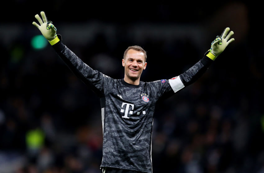 LONDON, ENGLAND - OCTOBER 01: Manuel Neuer of FC Bayern Munich celebrates his team's seventh goal during the UEFA Champions League group B match between Tottenham Hotspur and Bayern Muenchen at Tottenham Hotspur Stadium on October 01, 2019 in London, United Kingdom. (Photo by Catherine Ivill/Getty Images)