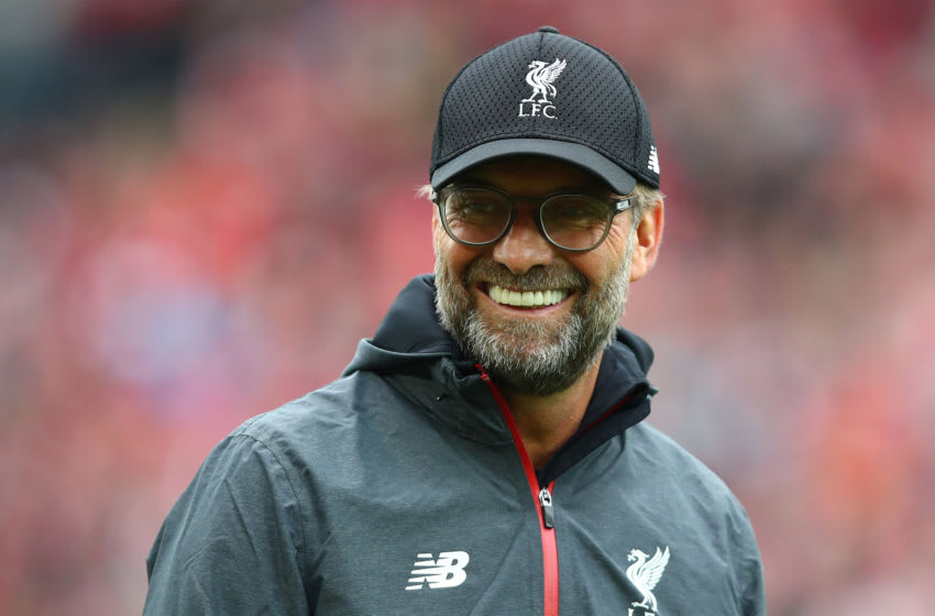 LIVERPOOL, ENGLAND - OCTOBER 05: Jurgen Klopp, Manager of Liverpool looks on ahead of the Premier League match between Liverpool FC and Leicester City at Anfield on October 05, 2019 in Liverpool, United Kingdom. (Photo by Clive Brunskill/Getty Images)
