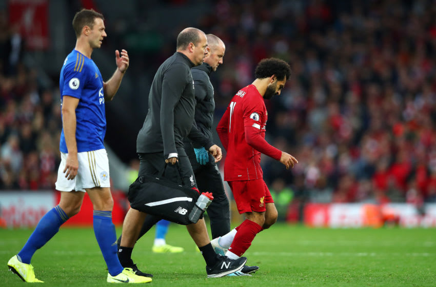 LIVERPOOL, ENGLAND - OCTOBER 05: Mohamed Salah of Liverpool goes off injured during the Premier League match between Liverpool FC and Leicester City at Anfield on October 05, 2019 in Liverpool, United Kingdom. (Photo by Clive Brunskill/Getty Images)