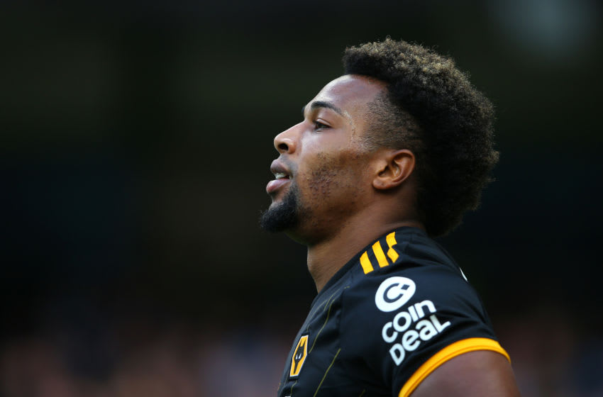 MANCHESTER, ENGLAND - OCTOBER 06: Adama Traore of Wolverhampton Wanderers looks on during the Premier League match between Manchester City and Wolverhampton Wanderers at Etihad Stadium on October 06, 2019 in Manchester, United Kingdom. (Photo by Alex Livesey/Getty Images)