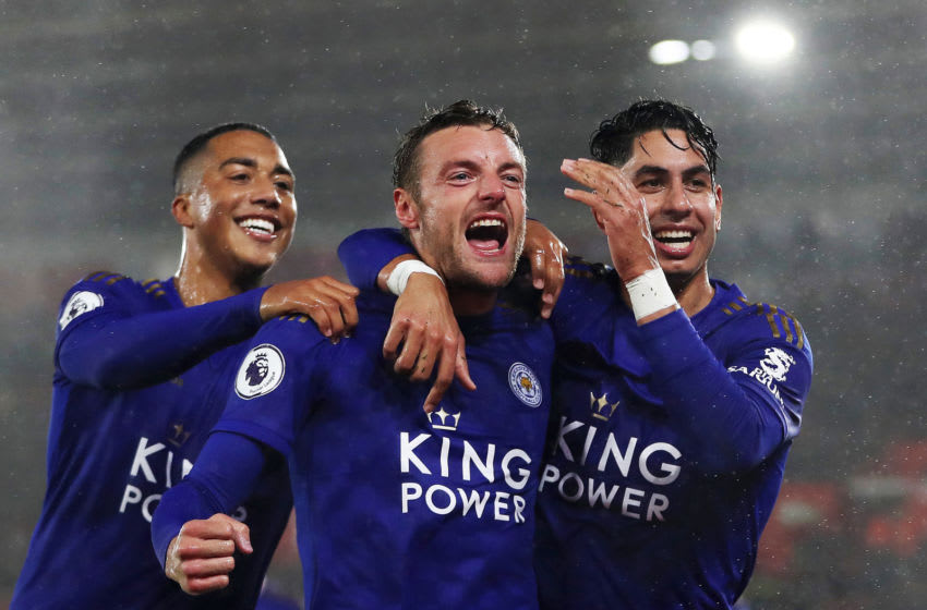 SOUTHAMPTON, ENGLAND - OCTOBER 25: Jamie Vardy of Leicster City celebrates after scoring his team's fifth goal with Youri Tielemans and Ayoze Perez during the Premier League match between Southampton FC and Leicester City at St Mary's Stadium on October 25, 2019 in Southampton, United Kingdom. (Photo by Naomi Baker/Getty Images)