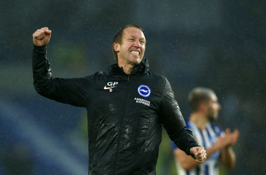 BRIGHTON, ENGLAND - OCTOBER 26: Graham Potter, Manager of Brighton and Hove Albion acknowledges the fans after his sides victory in the Premier League match between Brighton & Hove Albion and Everton FC at American Express Community Stadium on October 26, 2019 in Brighton, United Kingdom. (Photo by Charlie Crowhurst/Getty Images)