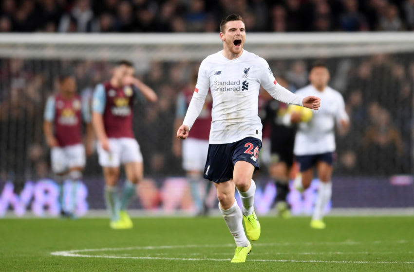BIRMINGHAM, ENGLAND - NOVEMBER 02: Andy Robertson of Liverpool celebrates after scoring his team's first goal during the Premier League match between Aston Villa and Liverpool FC at Villa Park on November 02, 2019 in Birmingham, United Kingdom. (Photo by Laurence Griffiths/Getty Images)