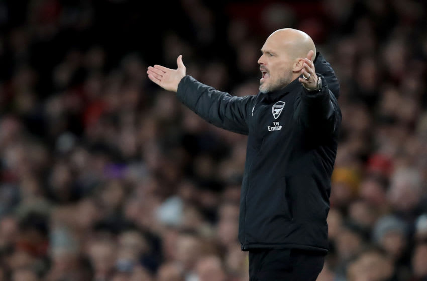 LONDON, ENGLAND - DECEMBER 05: Freddie Ljungberg caretaker Arsenal coach during the Premier League match between Arsenal FC and Brighton & Hove Albion at Emirates Stadium on December 5, 2019 in London, United Kingdom. (Photo by Marc Atkins/Getty Images)