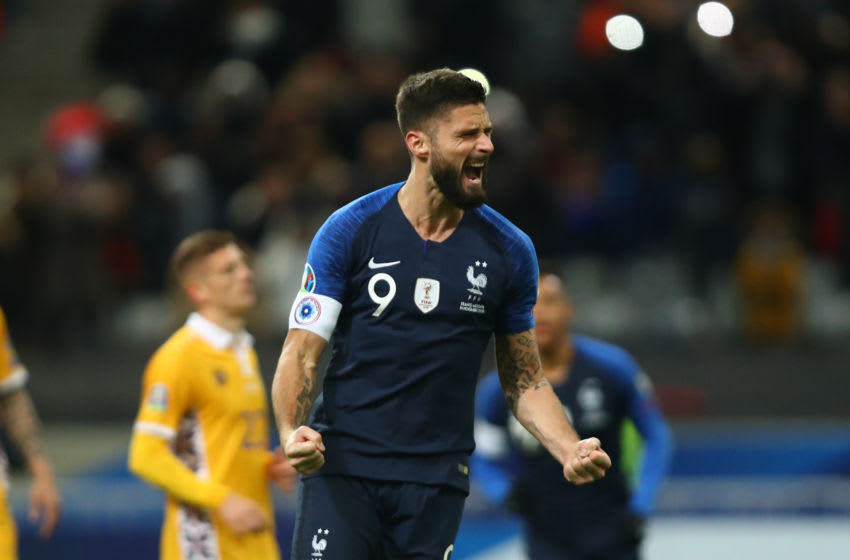 PARIS, FRANCE - NOVEMBER 14: Olivier Giroud of France celebrates after scoring his team's second goal during the UEFA Euro 2020 Qualifier between France and Moldova on November 14, 2019 in Paris, France. (Photo by Dean Mouhtaropoulos/Getty Images)