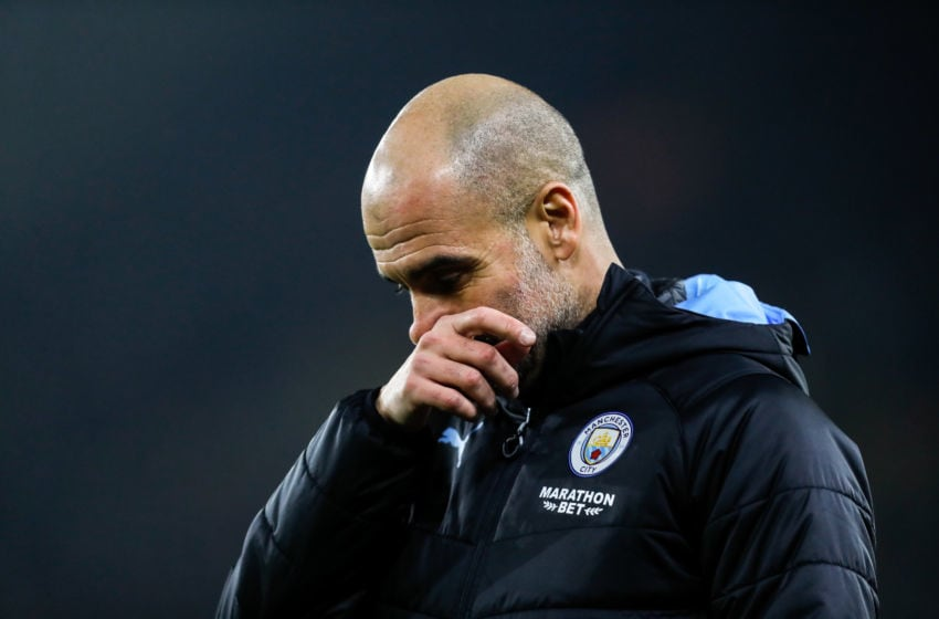 WOLVERHAMPTON, ENGLAND - DECEMBER 27: A dejected Pep Guardiola the head coach / manager of Manchester City during the Premier League match between Wolverhampton Wanderers and Manchester City at Molineux on December 27, 2019 in Wolverhampton, United Kingdom. (Photo by James Baylis - AMA/Getty Images)
