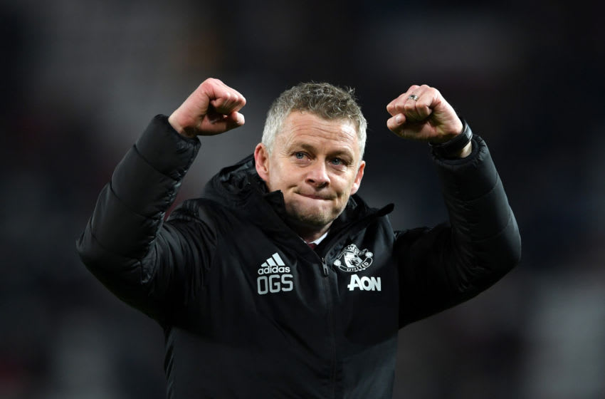 MANCHESTER, ENGLAND - DECEMBER 04: Ole Gunnar Solskjaer, Manager of Manchester United celebrates at full-time after the Premier League match between Manchester United and Tottenham Hotspur at Old Trafford on December 04, 2019 in Manchester, United Kingdom. (Photo by Stu Forster/Getty Images)