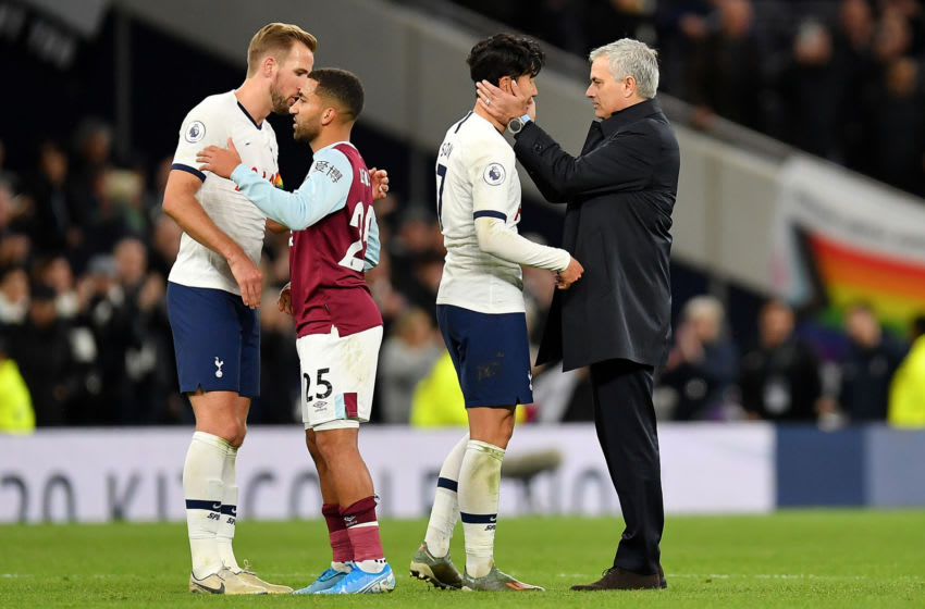 LONDON, ENGLAND - DECEMBER 07: Manager of Tottenham Hotspur, Jose Mourinho and Son Heung-Min of Tottenham Hotspur embrace after the Premier League match between Tottenham Hotspur and Burnley FC at Tottenham Hotspur Stadium on December 07, 2019 in London, United Kingdom. (Photo by Justin Setterfield/Getty Images)