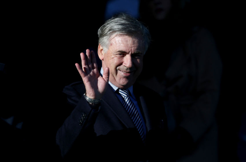 LIVERPOOL, ENGLAND - DECEMBER 21: Carlo Ancelotti, Manager of Everton is seen in the stands prior to the Premier League match between Everton FC and Arsenal FC at Goodison Park on December 21, 2019 in Liverpool, United Kingdom. (Photo by Jan Kruger/Getty Images)