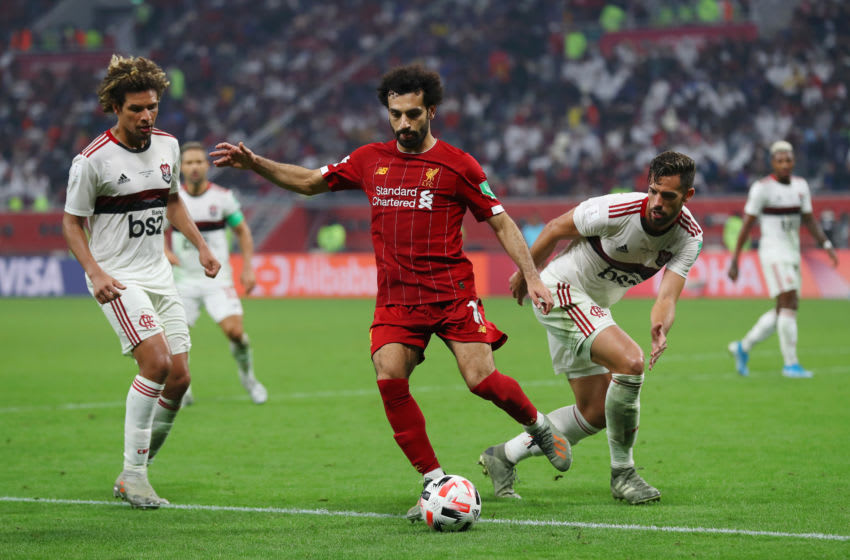 DOHA, QATAR - DECEMBER 21: Mohamed Salah of Liverpool turns with the ball during the FIFA Club World Cup Qatar 2019 Final between Liverpool FC and CR Flamengo at Education City Stadium on December 21, 2019 in Doha, Qatar. (Photo by Francois Nel/Getty Images)