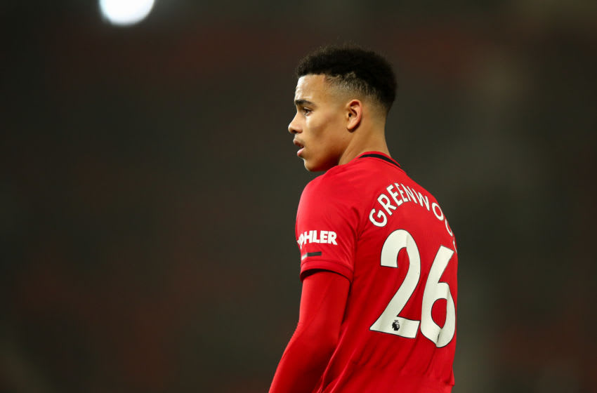 MANCHESTER, ENGLAND - JANUARY 22: Mason Greenwood of Manchester United during the Premier League match between Manchester United and Burnley FC at Old Trafford on January 22, 2020 in Manchester, United Kingdom. (Photo by Robbie Jay Barratt - AMA/Getty Images)