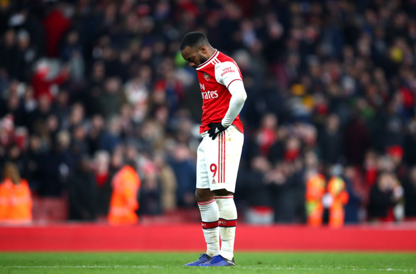 LONDON, ENGLAND - DECEMBER 29: Alexandre Lacazette of Arsenal reacts during the Premier League match between Arsenal FC and Chelsea FC at Emirates Stadium on December 29, 2019 in London, United Kingdom. (Photo by Julian Finney/Getty Images)