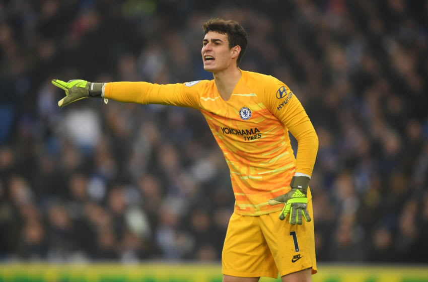 BRIGHTON, ENGLAND - JANUARY 01: Kepa Arrizabalaga of Chelsea shouts instructions during the Premier League match between Brighton & Hove Albion and Chelsea FC at American Express Community Stadium on January 01, 2020 in Brighton, United Kingdom. (Photo by Mike Hewitt/Getty Images)