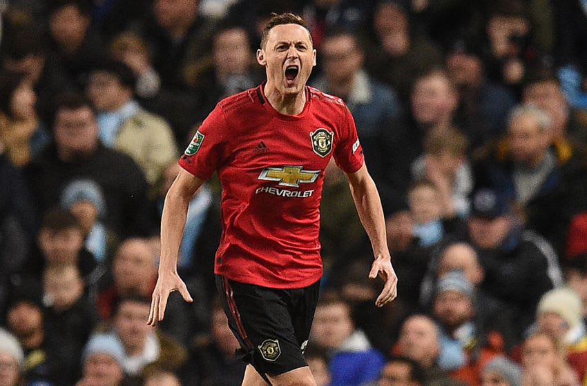 Manchester United's Serbian midfielder Nemanja Matic celebrates scoring the opening goal during the English League Cup semi-final second leg football match between Manchester City and Manchester United at the Etihad Stadium in Manchester, north west England, on January 29, 2020. (Photo by Oli SCARFF / AFP) / RESTRICTED TO EDITORIAL USE. No use with unauthorized audio, video, data, fixture lists, club/league logos or 'live' services. Online in-match use limited to 120 images. An additional 40 images may be used in extra time. No video emulation. Social media in-match use limited to 120 images. An additional 40 images may be used in extra time. No use in betting publications, games or single club/league/player publications. / (Photo by OLI SCARFF/AFP via Getty Images)