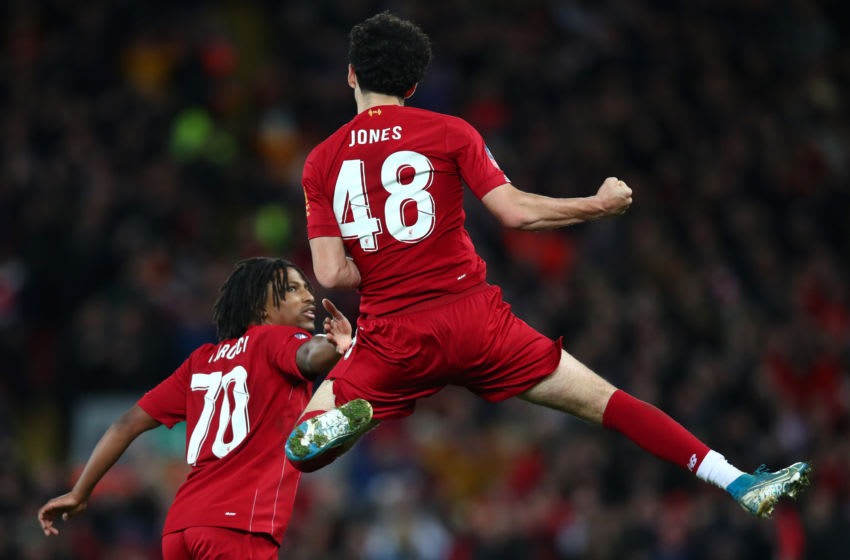 LIVERPOOL, ENGLAND - JANUARY 05: Curtis Jones of Liverpool celebrates after scoring his team's first goal during the FA Cup Third Round match between Liverpool and Everton at Anfield on January 05, 2020 in Liverpool, England. (Photo by Clive Brunskill/Getty Images)