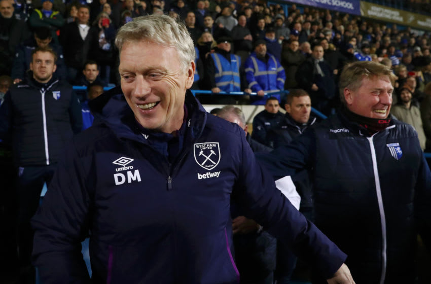GILLINGHAM, ENGLAND - JANUARY 05: David Moyes, Manager of West Ham United looks on prior to the FA Cup Third Round match between Gillingham FC and West Ham United at MEMS Priestfield Stadium on January 05, 2020 in Gillingham, England. (Photo by Julian Finney/Getty Images)