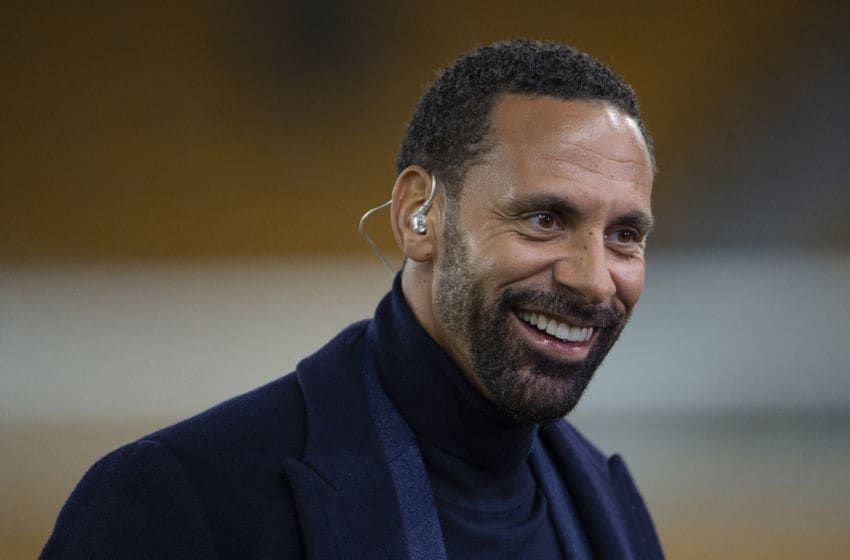 WOLVERHAMPTON, ENGLAND - JANUARY 04: Former Manchester United defender Rio Ferdinand working for BT Sport prior to the FA Cup Third Round match between Wolverhampton Wanderers and Manchester United at Molineux on January 04, 2020 in Wolverhampton, England. (Photo by Visionhaus)