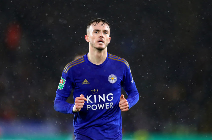 LEICESTER, ENGLAND - JANUARY 08: James Maddison of Leicester City during the Carabao Cup Semi Final match between Leicester City and Aston Villa at The King Power Stadium on January 08, 2020 in Leicester, England. (Photo by Catherine Ivill/Getty Images)