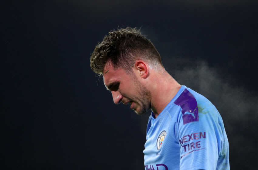 SHEFFIELD, ENGLAND - JANUARY 21: Aymeric Laporte of Manchester City during the Premier League match between Sheffield United and Manchester City at Bramall Lane on January 21, 2020 in Sheffield, United Kingdom. (Photo by Catherine Ivill/Getty Images)