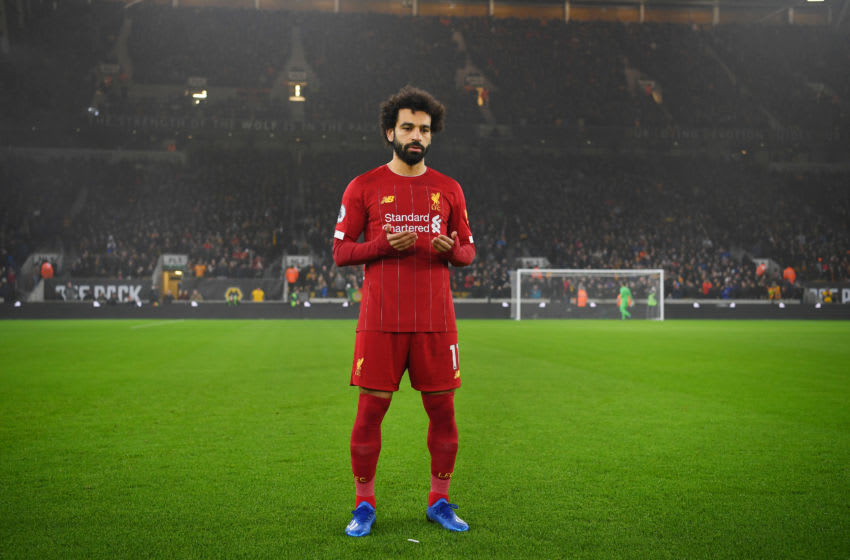 WOLVERHAMPTON, ENGLAND - JANUARY 23: Mohamed Salah prays before the Premier League match between Wolverhampton Wanderers and Liverpool FC at Molineux on January 23, 2020 in Wolverhampton, United Kingdom. (Photo by Michael Regan/Getty Images)