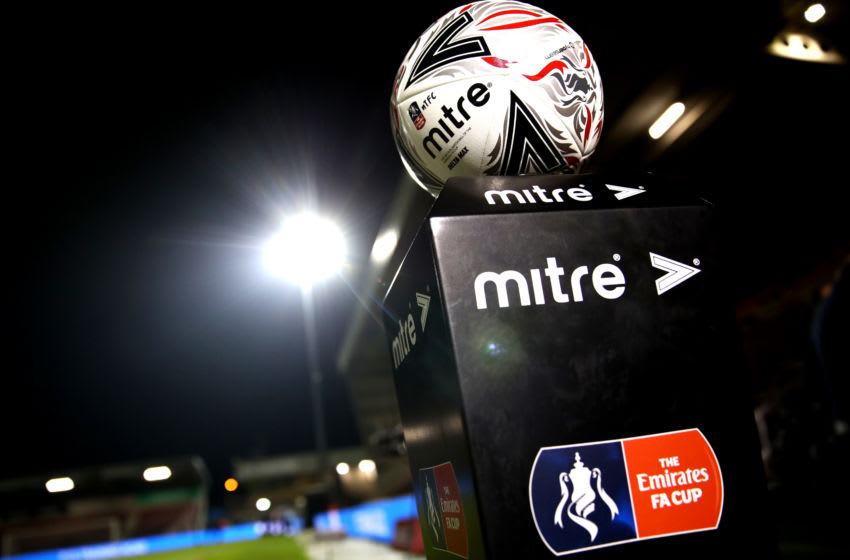 NORTHAMPTON, ENGLAND - JANUARY 24: A detailed view of the match ball prior to the FA Cup Fourth Round match between Northampton Town and Derby County at PTS Academy Stadium on January 24, 2020 in Northampton, England. (Photo by Mark Thompson/Getty Images)