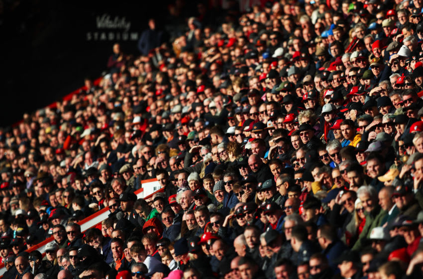 BOURNEMOUTH, ENGLAND - FEBRUARY 01: Supporters watch the action during the Premier League match between AFC Bournemouth and Aston Villa at Vitality Stadium on February 01, 2020 in Bournemouth, United Kingdom. (Photo by Dan Istitene/Getty Images)