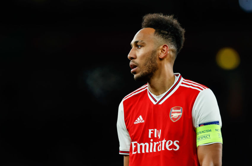 LONDON, ENGLAND - FEBRUARY 27: (BILD ZEITUNG OUT) Pierre-Emerick Aubameyang of Arsenal FC looks on during the UEFA Europa League round of 32 second leg match between Arsenal FC and Olympiacos FC at Emirates Stadium on February 27, 2020 in London, United Kingdom. (Photo by Roland Krivec/DeFodi Images via Getty Images)