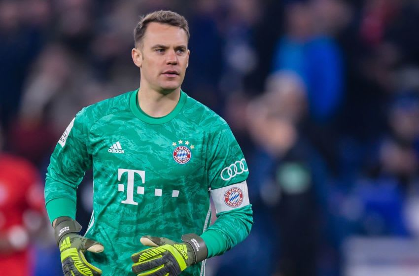 goalkeeper Manuel Neuer of FC Bayern Munich during the German DFB Pokal quarter final match between FC Schalke 04 and Bayern Munich at the Veltins Arena on March 03, 2020 in Gelsenkirchen, Germany(Photo by ANP Sport via Getty Images)