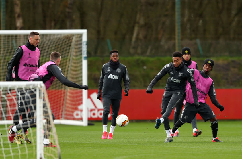 MANCHESTER, ENGLAND - FEBRUARY 26: Jesse Lingard of Manchester United shoots during a training session ahead of their UEFA Europa League round of 32 second leg match against Club Brugge at Aon Training Complex on February 26, 2020 in Manchester, United Kingdom. (Photo by Jan Kruger/Getty Images)