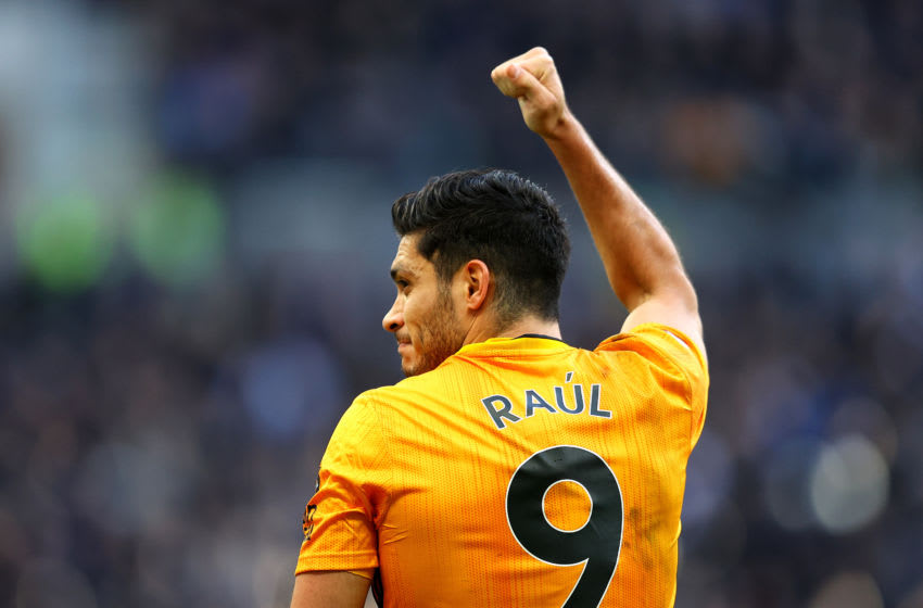 LONDON, ENGLAND - MARCH 01: Raul Jimenez of Wolverhampton Wanderers celebrates after scoring his team's third goal during the Premier League match between Tottenham Hotspur and Wolverhampton Wanderers at Tottenham Hotspur Stadium on March 01, 2020 in London, United Kingdom. (Photo by Richard Heathcote/Getty Images)