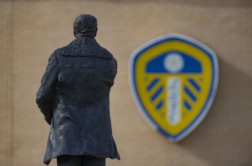 LEEDS, ENGLAND - MARCH 23: A statue of former manager Don Revie overlooks Elland Road, home of Leeds United Football Club on March 23, 2020 in Leeds, England (Photo by Visionhaus)