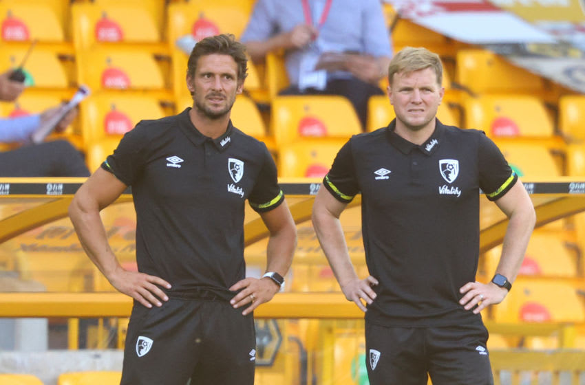 Eddie Howe, Manager of AFC Bournemouth and his assistant manager Jason Tindall (Photo by Richard Heathcote/Getty Images)