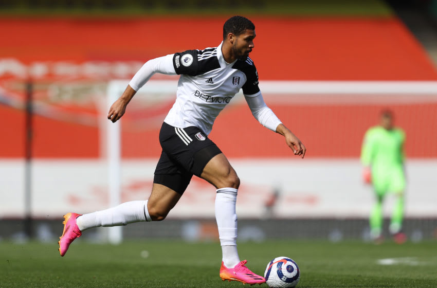 LONDON, ENGLAND - APRIL 18: Ruben Loftus-Cheek of Fulham in action during the Premier League match between Arsenal and Fulham at Emirates Stadium on April 18, 2021 in London, England. Sporting stadiums around the UK remain under strict restrictions due to the Coronavirus Pandemic as Government social distancing laws prohibit fans inside venues resulting in games being played behind closed doors. (Photo by Julian Finney/Getty Images)